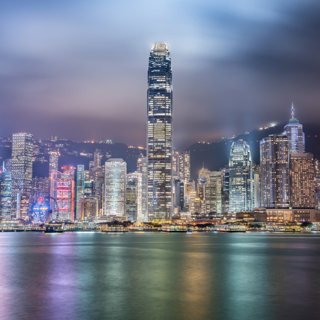 """Cityscape at night in Hong Kong"" stock image"