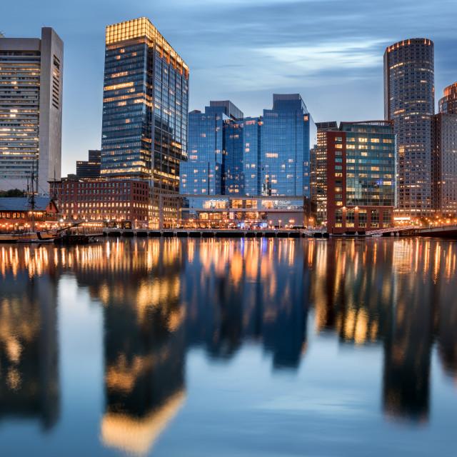 """Boston Downtown skyline at the blue hour, Massachusetts, USA"" stock image"