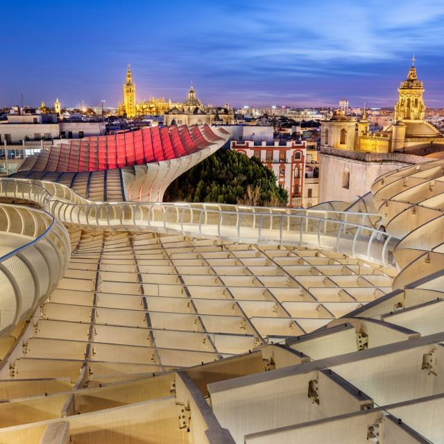 """""""Seville cityscape from the top of the Metropol Parasol at the blue hour"""" stock image"""