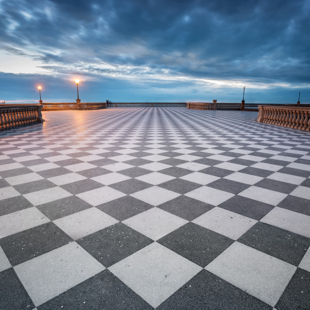 """Mascagni terrace at dusk, Livorno, Italy"" stock image"