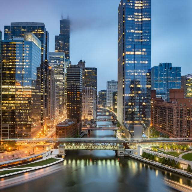 """Chicago downtown skyline at dusk, Illinois, United States"" stock image"