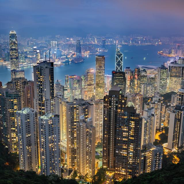 """Skyline from The Peak at night, Hong Kong, China"" stock image"