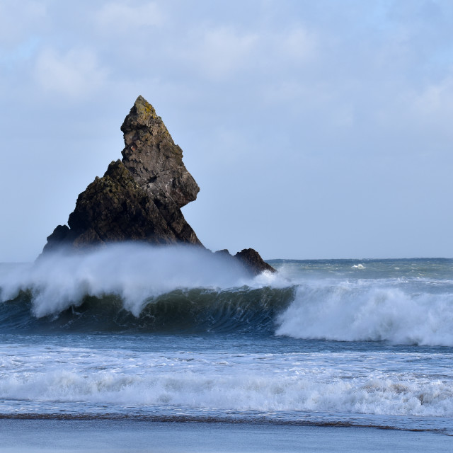 """Waves crashing near Church Rock in Pembrokeshire."" stock image"
