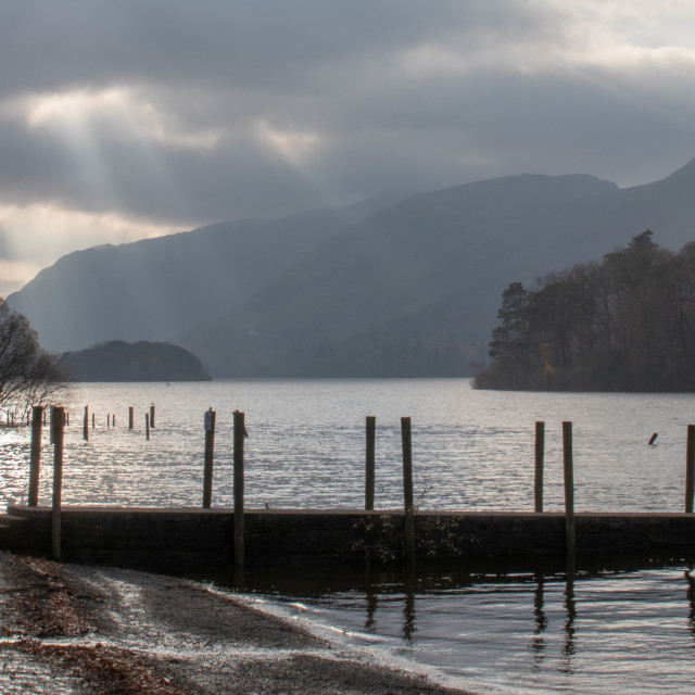"""""""Dramatic Sky over Derwent Water"""" stock image"""