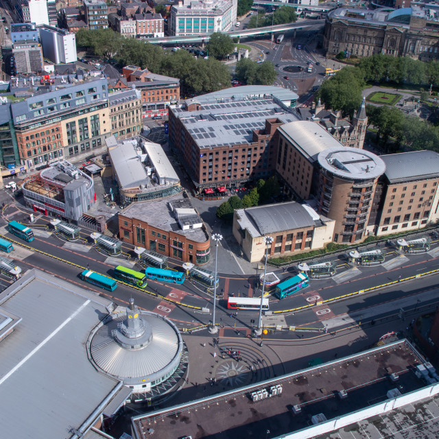 """""""Queen Square bus station from above"""" stock image"""