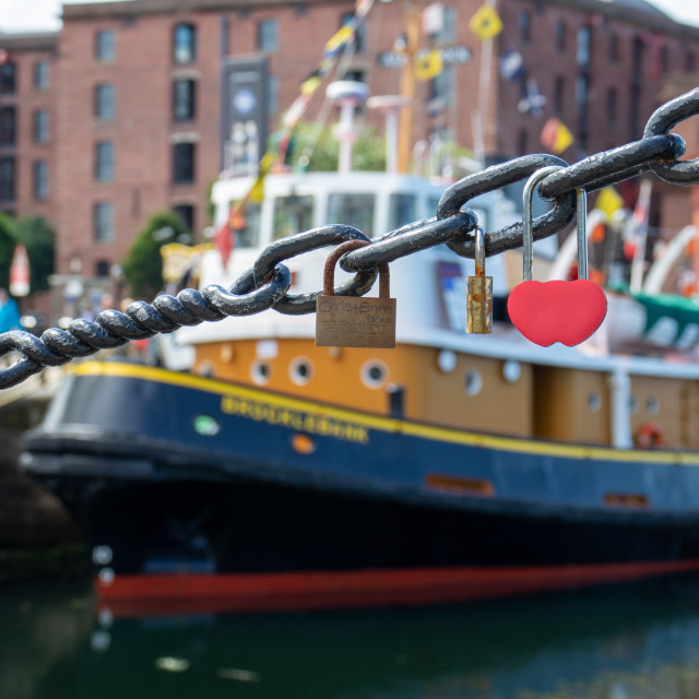 """Love Locks in Liverpool"" stock image"