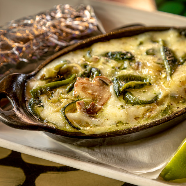 """Poblano peppers and mushroom queso dip"" stock image"