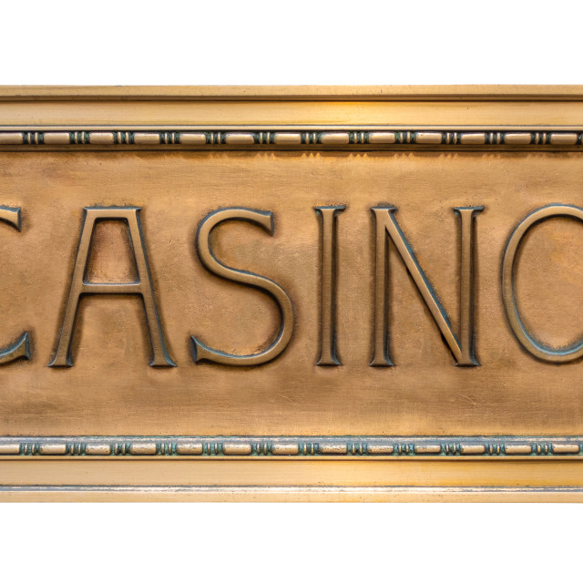 """""""Ornate Brass Sign For A Casino"""" stock image"""