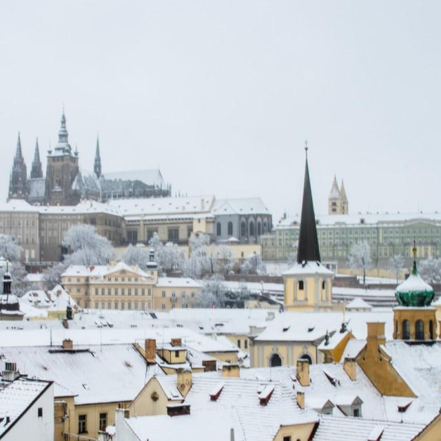 """Prague in the snow"" stock image"
