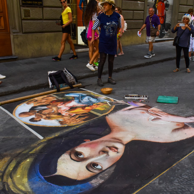 """""""A Pavement Artist in Florence."""" stock image"""