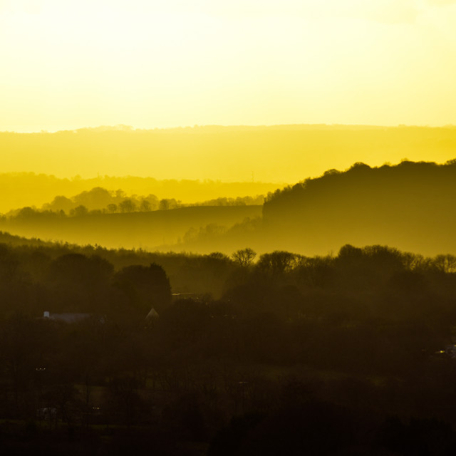 """Caerphilly Golden Sundown"" stock image"