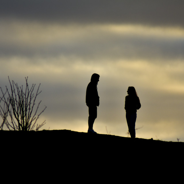 """""""Couple in Silhouette"""" stock image"""