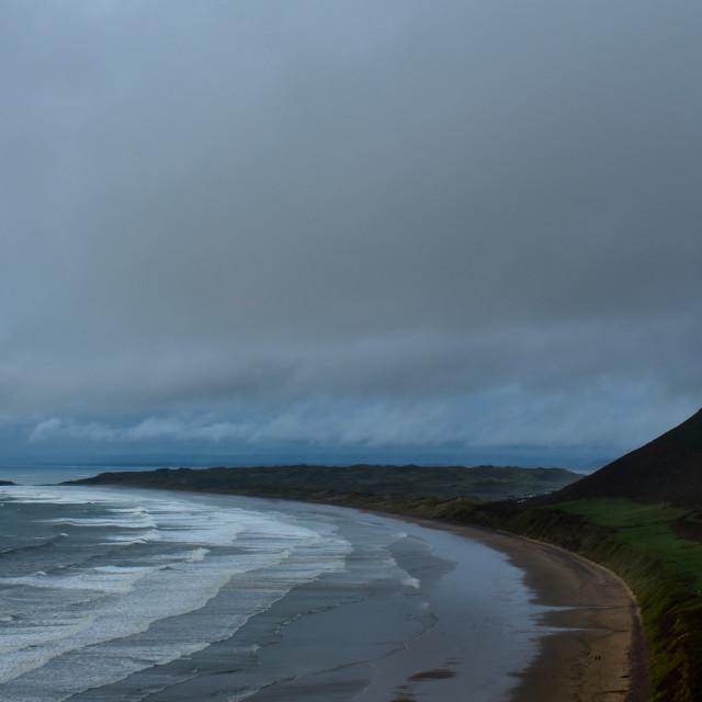 """Gower Rhosilli Bay Storm Sky"" stock image"