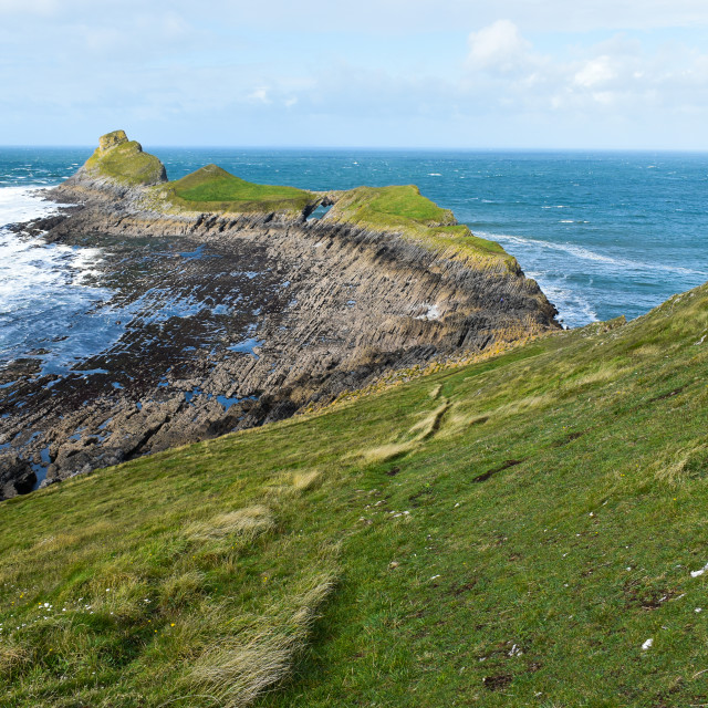 """""""Gower Rhosilli Worms Head End and Slope"""" stock image"""