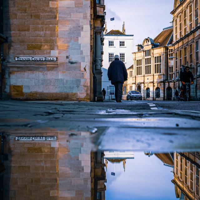"""""""Reflections, Downing St. Cambridge UK"""" stock image"""