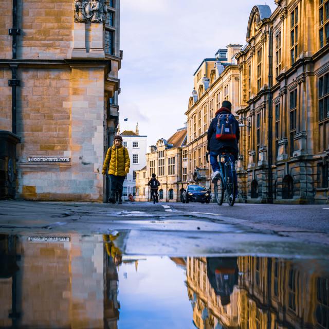 """""""Reflections, Downing St. Cambridge UK."""" stock image"""