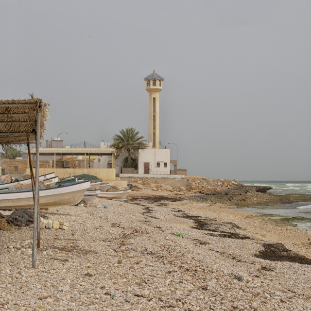 """Mosque at beach Oman"" stock image"