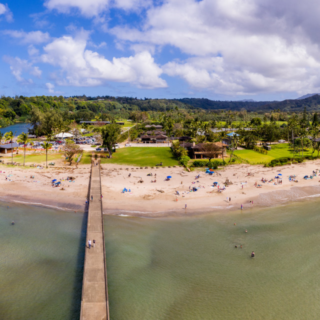 """""""Aerial drone shot of Hanalei bay and beach on the north shore of Kauai in Hawaii"""" stock image"""