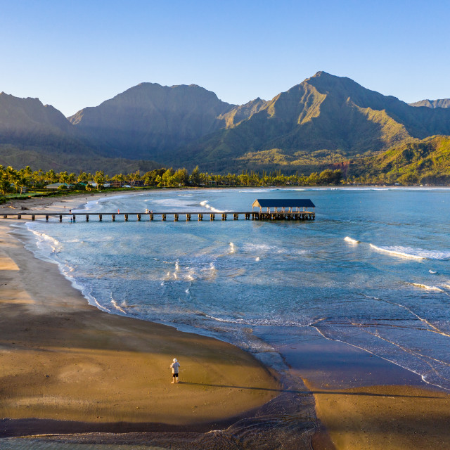 """""""Aerial drone shot of man on the sand of Hanalei beach on the north shore of..."""" stock image"""