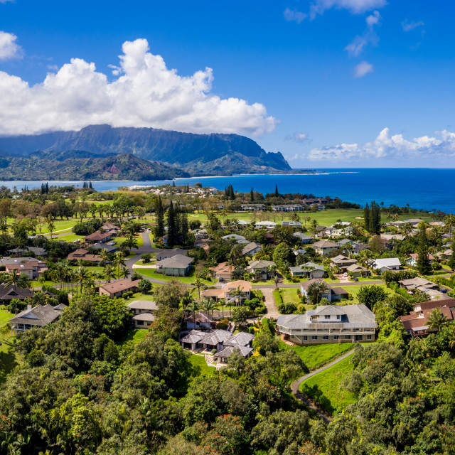 """""""Aerial shot over Princeville with Hanalei Bay on north shore of Kauai in Hawaii"""" stock image"""