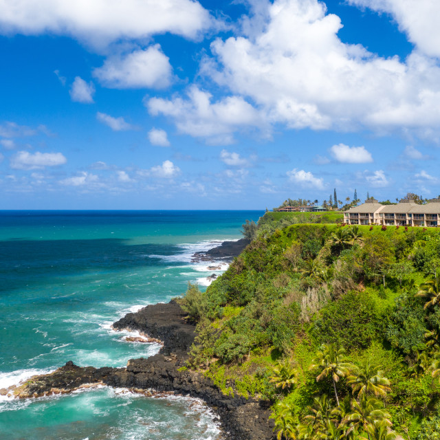 """""""Aerial drone shot of Princeville and the Kenomene Ocean Sunset Outlook on..."""" stock image"""