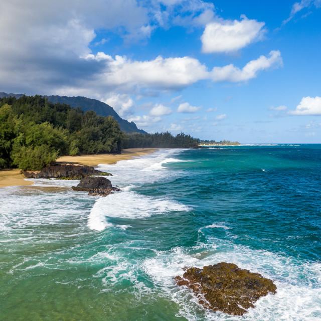 """Aerial drone shot of Lumahai Beach on the north shore of Kauai in Hawaii"" stock image"