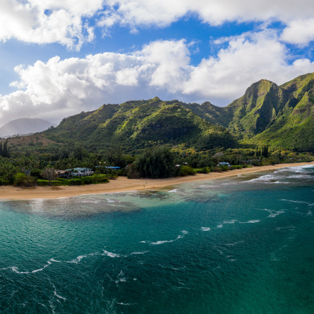 """""""Aerial drone shot of Tunnels Beach on the north shore of Kauai in Hawaii"""" stock image"""