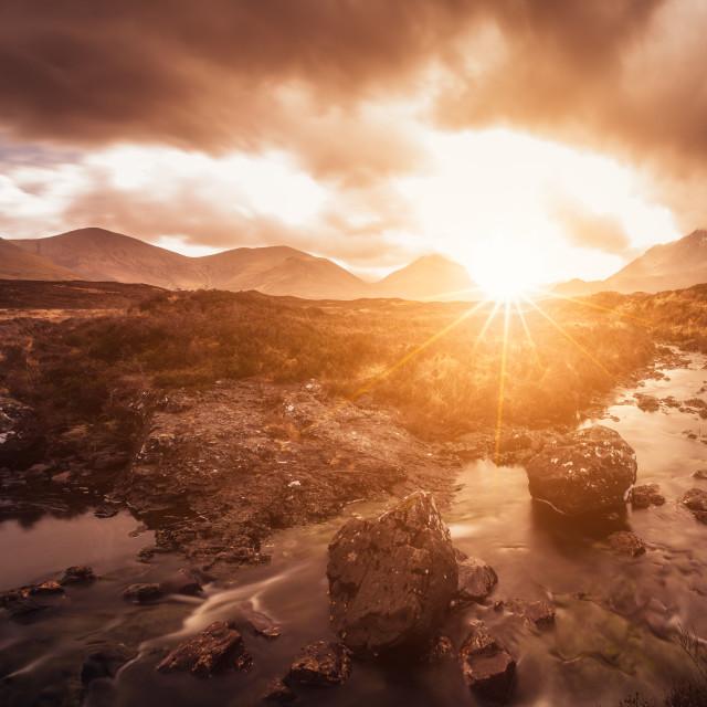 """Isle of Skye, Scotland, United Kingdom. Sligachan view over Black Cuillin mountains at sunrise"" stock image"