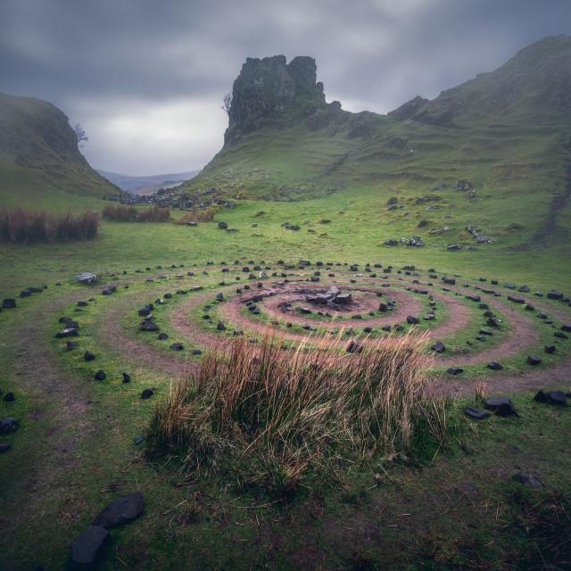 """Miniature landscape, Isle of Skye, Scotland, United Kingdom. The Fairy Glen (Faerie) near Uig"" stock image"