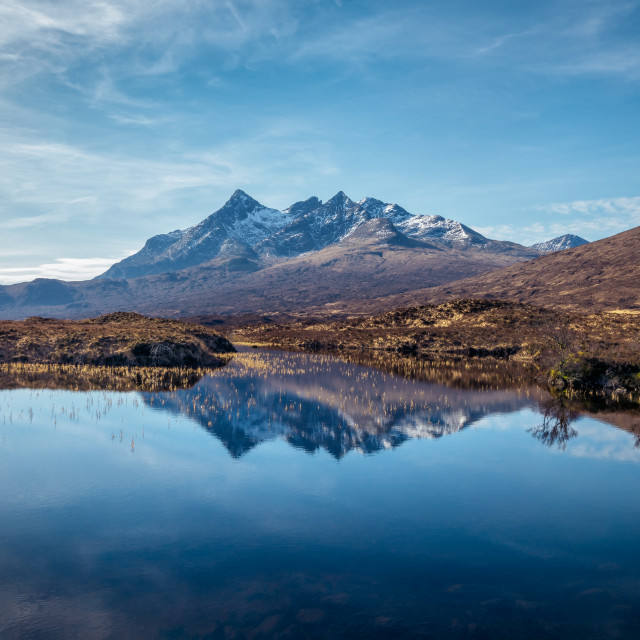 """""""Isle of Skye, Scotland, United Kingdom. View over The Cuillin mountains"""" stock image"""