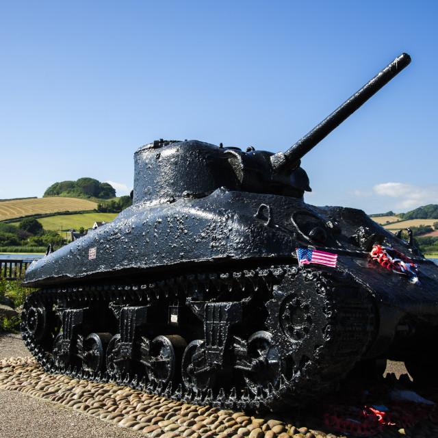 """Sherman Tank at Torcross, Devon"" stock image"