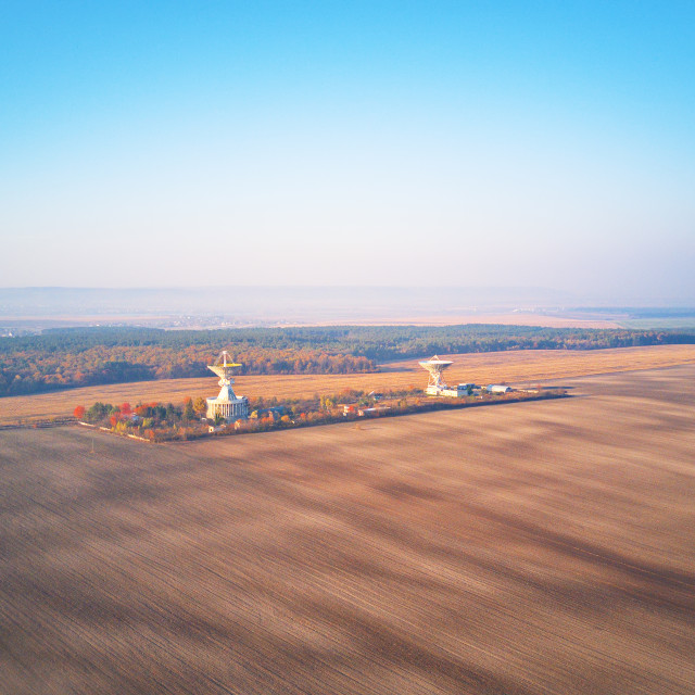 """""""Ukrainian Center of space communication. Aerial view of arable a"""" stock image"""