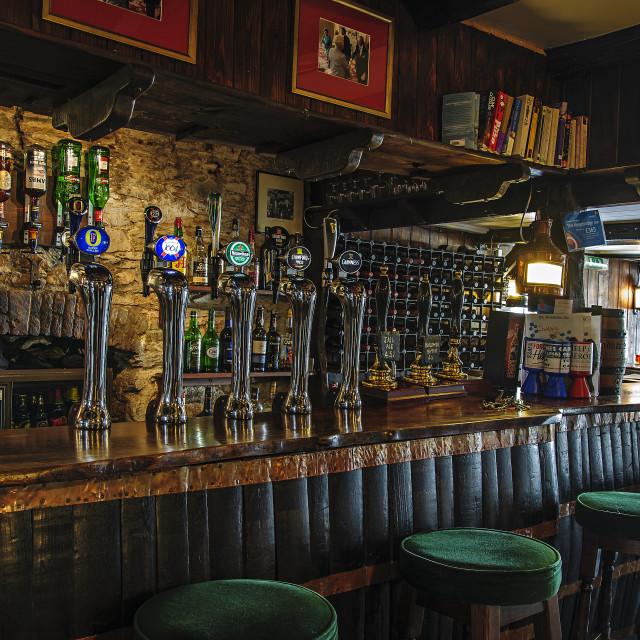 """""""Bar of the Kingsbridge Inn, Totnes, Devon"""" stock image"""