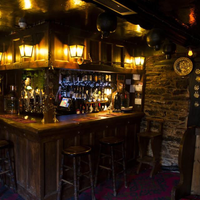 """Bar of the Old Church House Inn, Torbryan, Devon"" stock image"