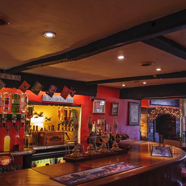 """""""Bar of the Devil's Stone Inn, shebbear, Devon"""" stock image"""