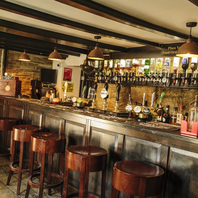 """Bar of Ye Olde Malthouse, Tintagel, Cornwall"" stock image"