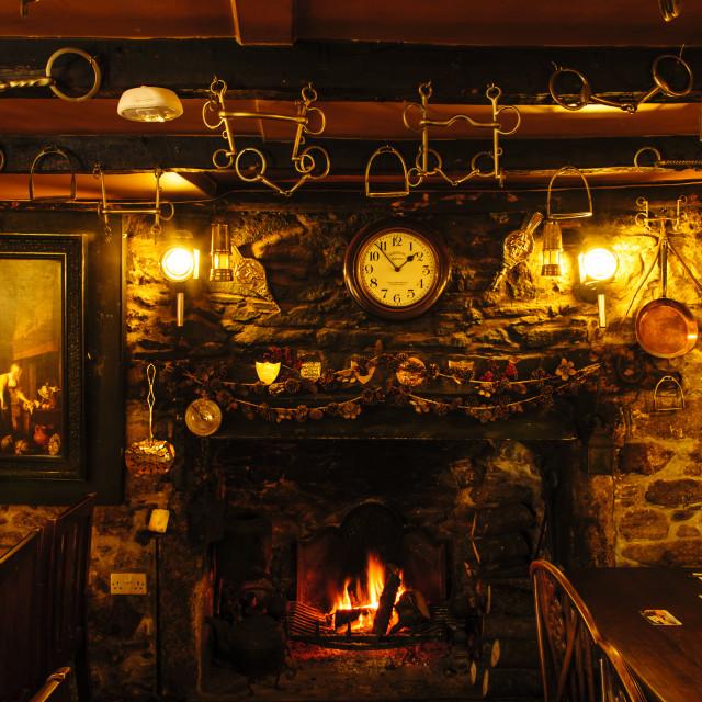 """Bar of the Crow's Nest Inn, Cornwall"" stock image"