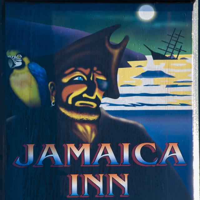 """Sign of the Jamaica Inn, Bolventor, Cornwall"" stock image"
