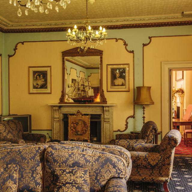 """Lounge of the Union Hotel, Penzance, Cornwall"" stock image"