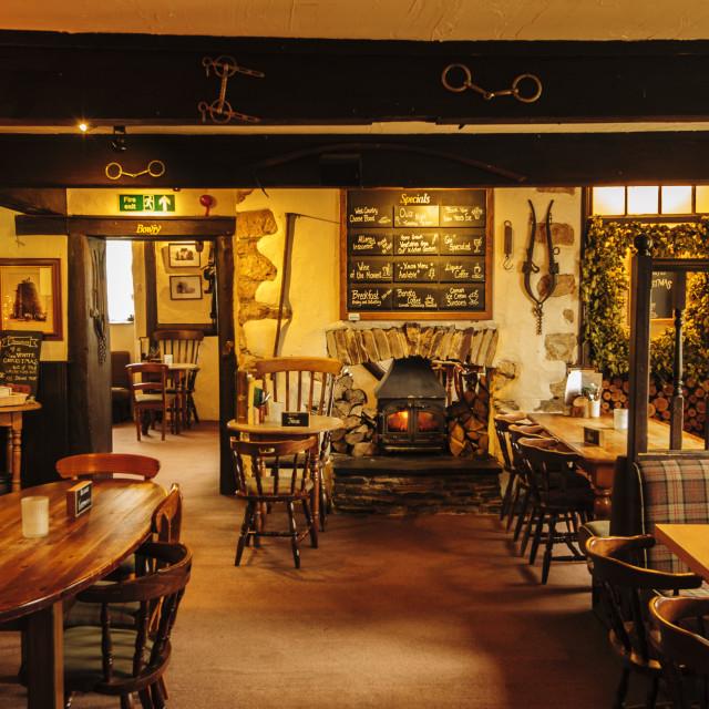 """Lounge bar of the haunted Polgooth Inn, Cornwall"" stock image"