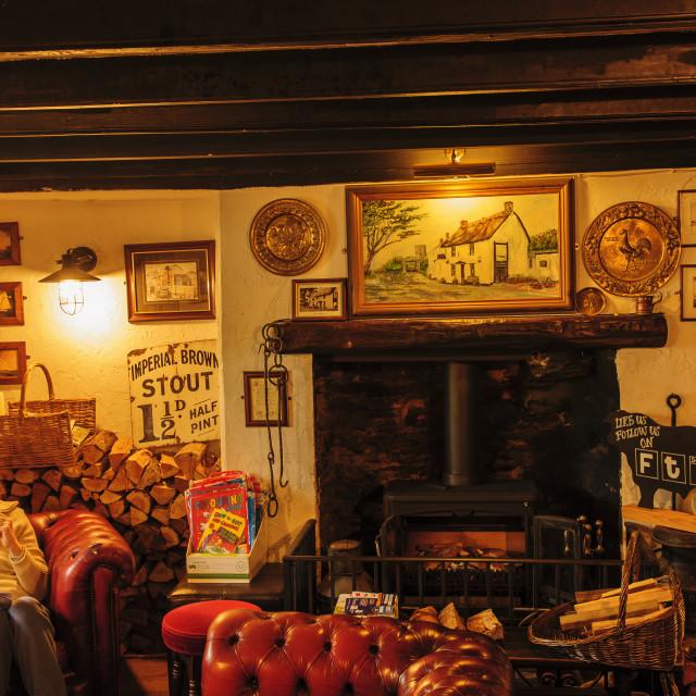 """Lounge bar of the Old Albion Inn, Crnatock, Cornwall"" stock image"
