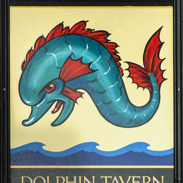 """""""Sign of the Dolphin Inn, Penzance, Cornwall"""" stock image"""