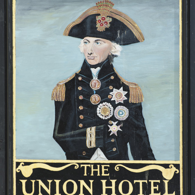 """""""Sign of the Union Hotel, Penzance, Cornwall"""" stock image"""