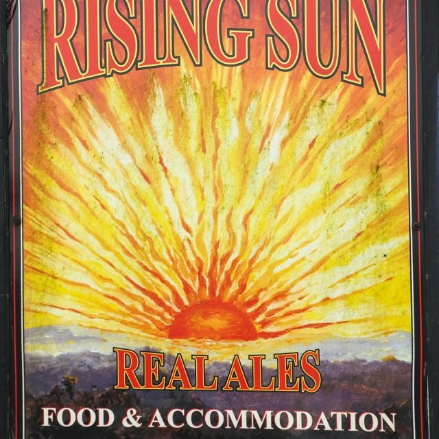 """Sign of the Rising Sun, Woodland, Devon"" stock image"