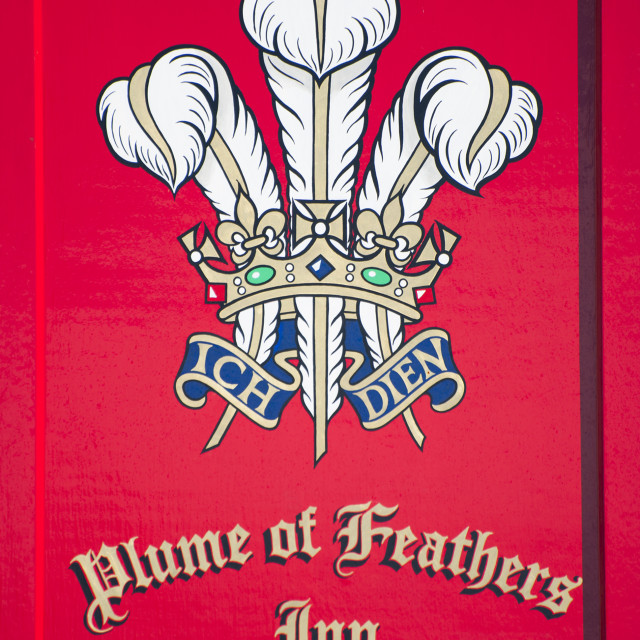 """""""Sign of the Plume of Feathers inn, Princetown, Devon"""" stock image"""