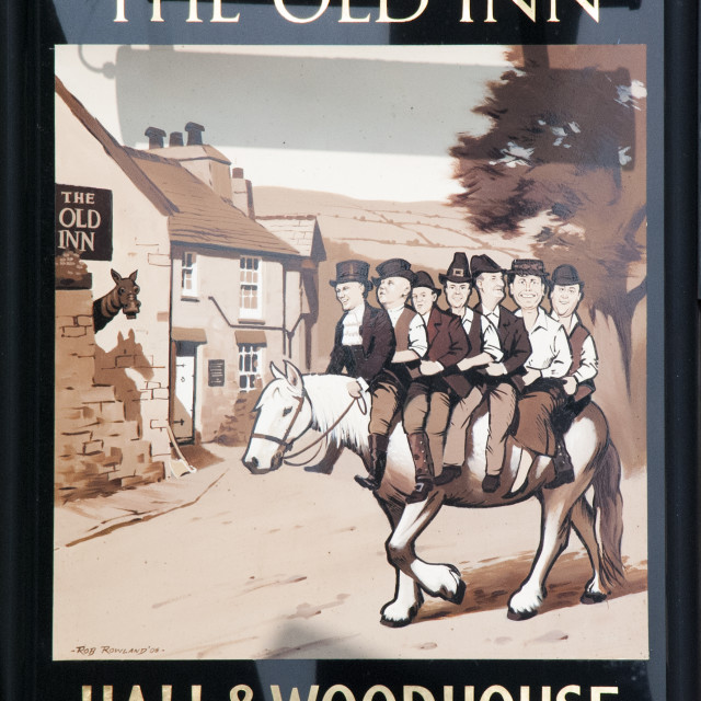 """""""Sign of the Old Inn, Widecombe, Devon"""" stock image"""