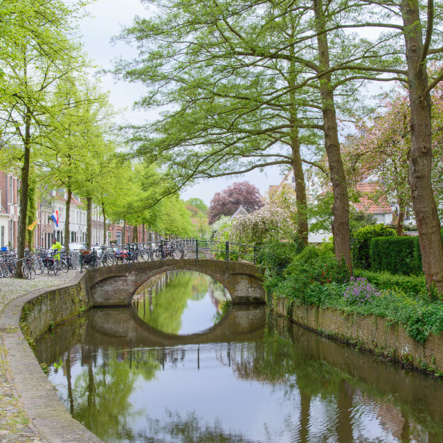 """Canal and a bridge over it in Amersfoort"" stock image"