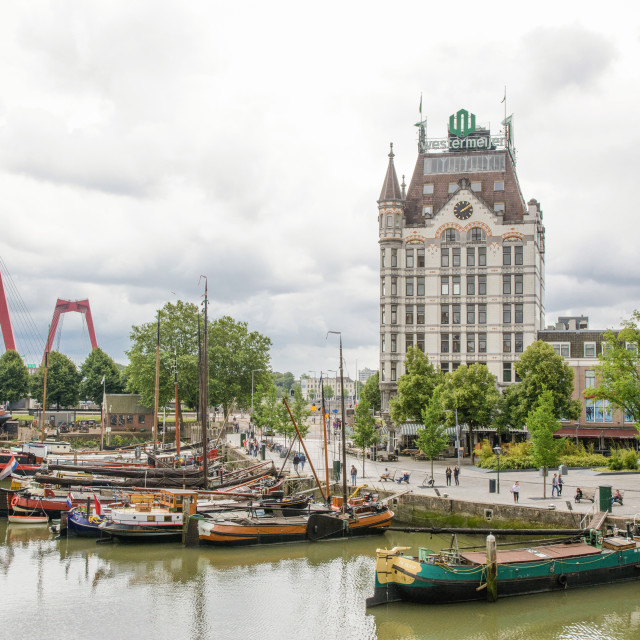 """View to Oudehaven (old port) in Rotterdam"" stock image"