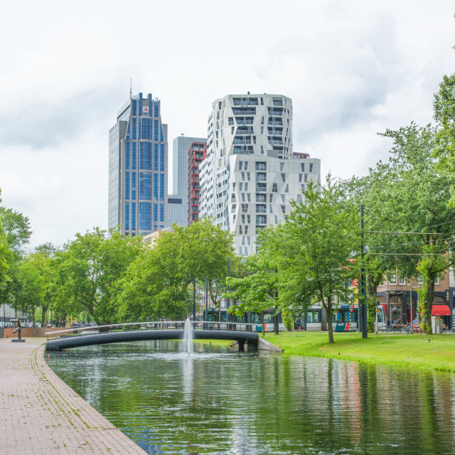 """Green city park with a canal in Rotterdam"" stock image"