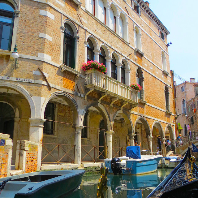 """Old palace and canal in Venice"" stock image"